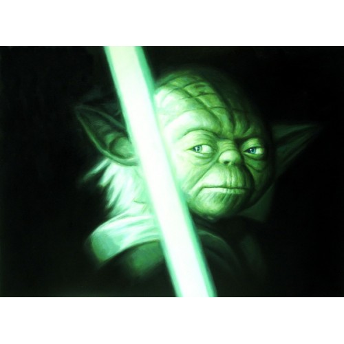 Print Painting Artwork Movie Star War Master Yoda Lightsaber